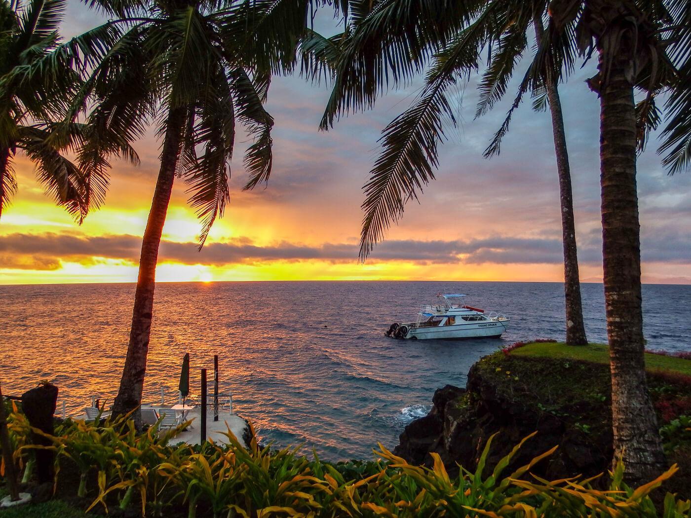 Sunset from Paradise Resort, Taveuni. © Roger Harris