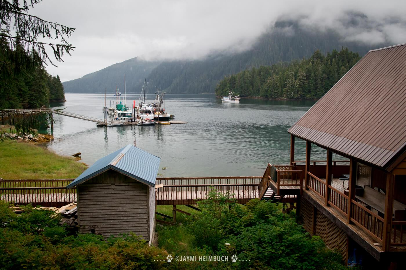 The harbor at Baranof Warm Springs, which features a waterfall and natural hot springs. © Jaymi Heimbuch