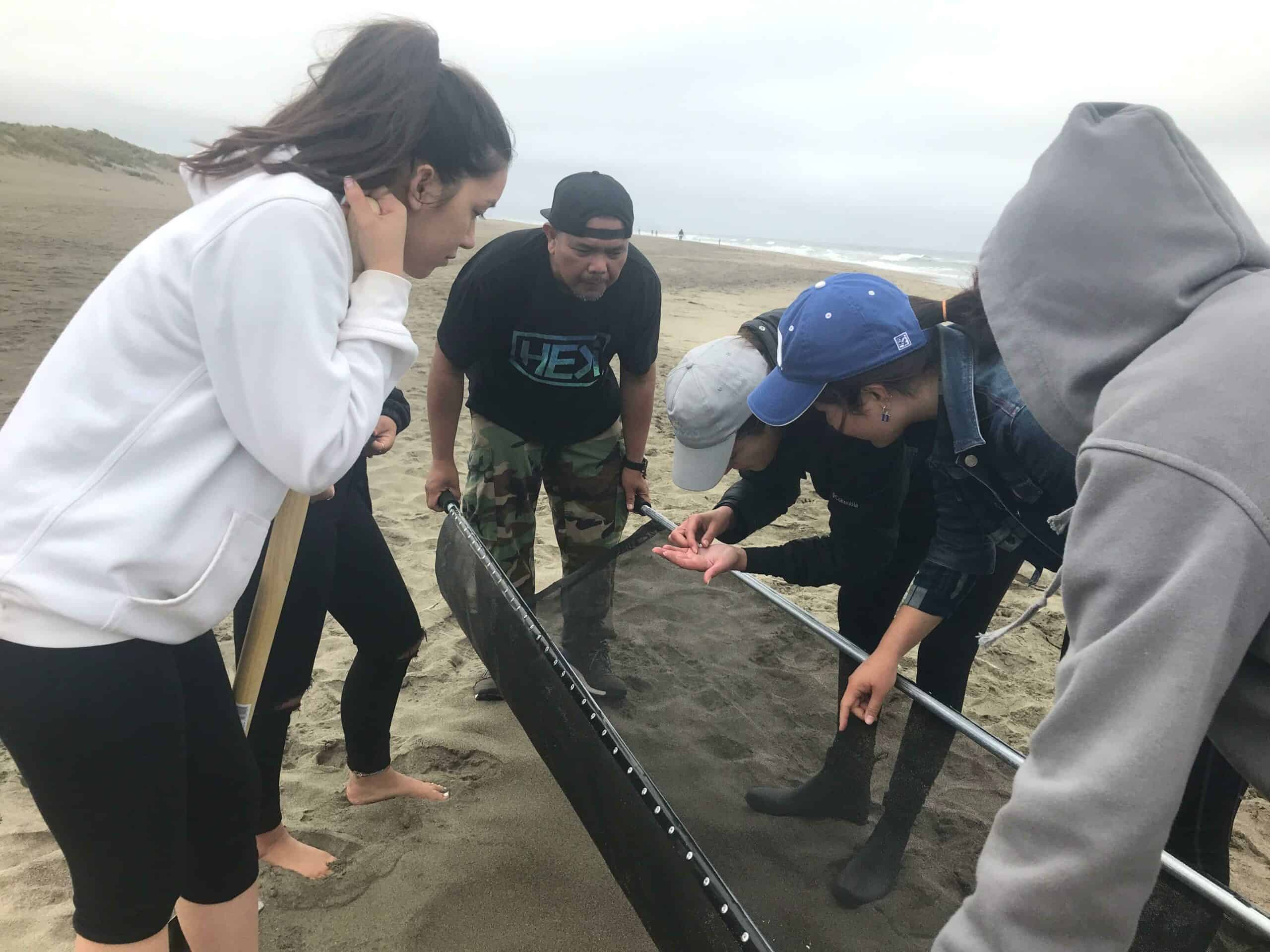 sifting for microplastics on the beach