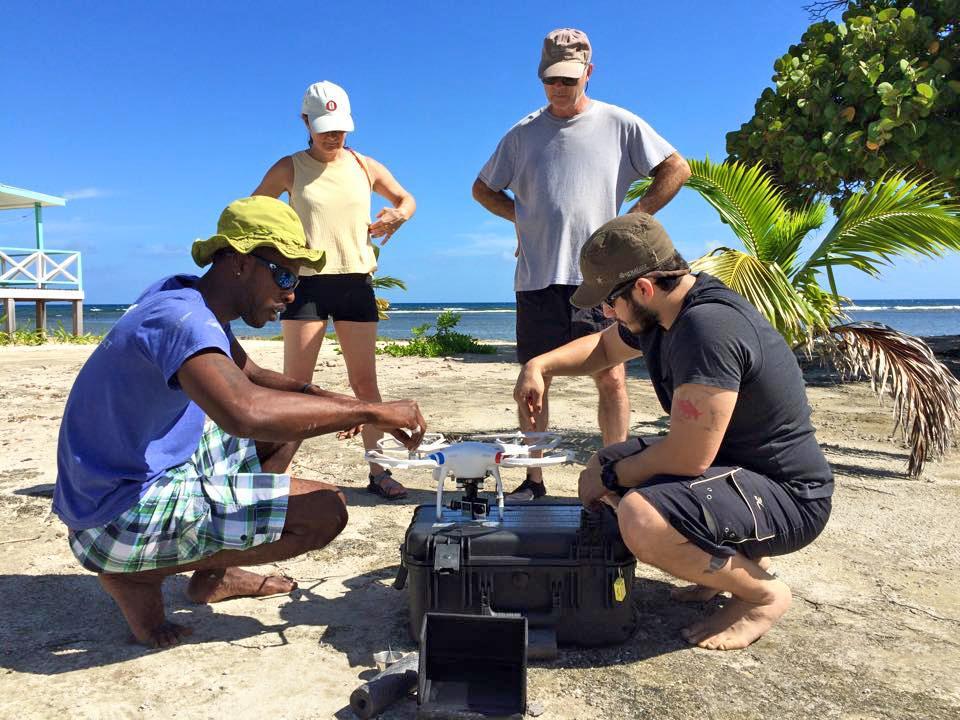 Eric and Alton prepare the quadcopter for flight. © Kathi Koontz