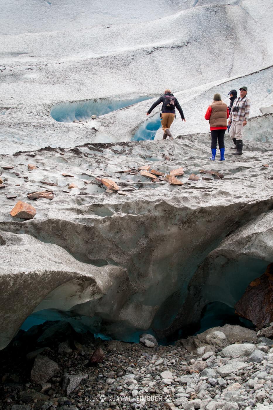 Trip participants explore Reid Glacier up close. © Jaymi Heimbuch