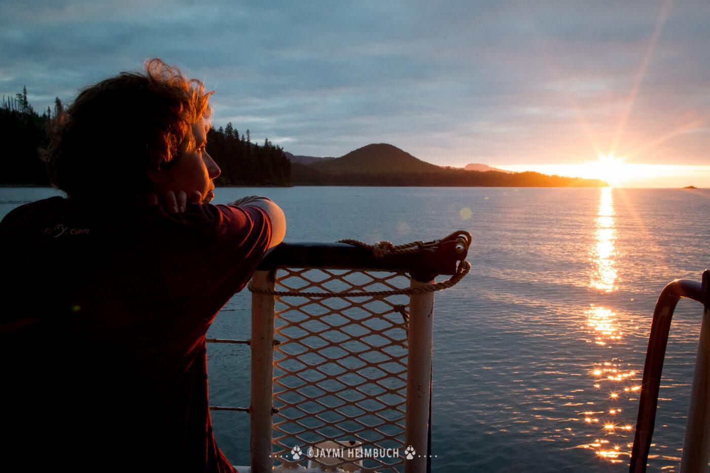 Enjoying one of many breathtaking Alaskan sunsets from the ship's deck. © Jaymi Heimbuch