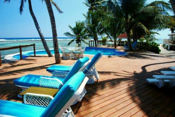 Pool deck at Turneffe Flats